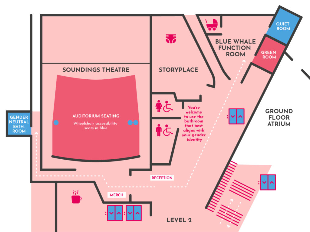Map of Soundings Theatre showing key accessibility locations in blue